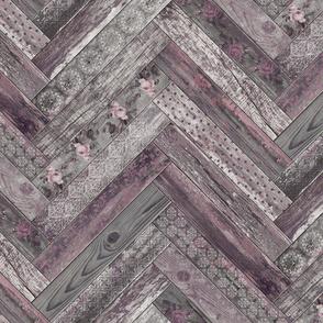Vintage Wood Chevron Tiles Herringbone Mauve Grey