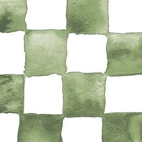 XL watercolor checkerboard - terre verte green
