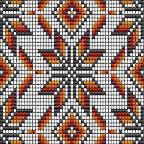 Desert kilim large native aztec white beads Wallpaper Fabric
