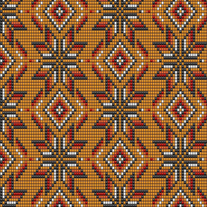 Aztec orange textured 3D beads kilim Wallpaper Fabric