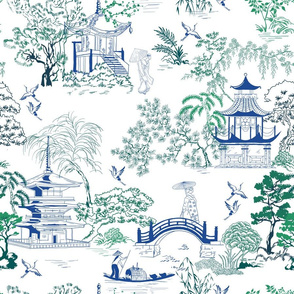Blue Green Japanese Toile