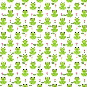 TINY Frogs florals cute animal fabric princess white