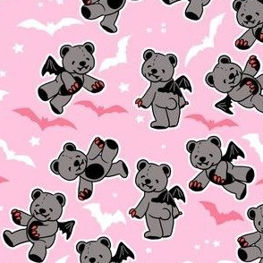 Pastel goth vampire bears on pink