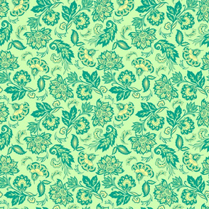 Yellow Green florals_green background