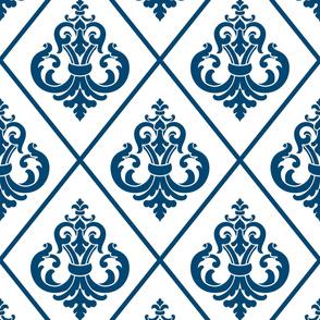 Damask Blue White