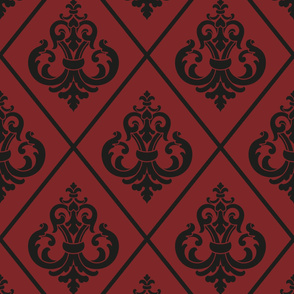 Damask Red Black