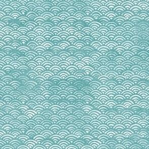 Japanese Ocean Waves in Turquoise   Block print pattern, Japanese waves Seigaiha pattern in bright aqua blue.