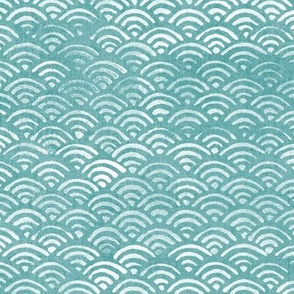 Japanese Ocean Waves in Turquoise (xl scale) | Block print pattern, Japanese waves Seigaiha pattern in bright aqua blue.