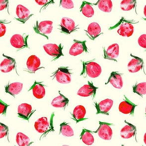 Woodland strawberry on cream - watercolor wild berries - sweet painted berry pattern p301