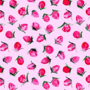 Woodland strawberry on pink - watercolor wild berries - sweet painted berry pattern