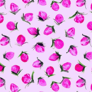Neon pink Woodland strawberry - watercolor wild berries - sweet painted berry pattern 301