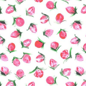 Woodland strawberry in soft shades - watercolor wild berries - sweet painted berry pattern