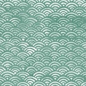 Japanese Ocean Waves in Jade Green (xl scale) | Block print pattern, Japanese waves Seigaiha pattern in sea foam green.