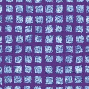 batik squares - light blue on purple