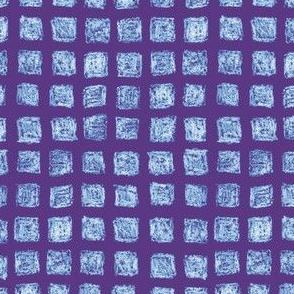 batik square grid - light blue on purple