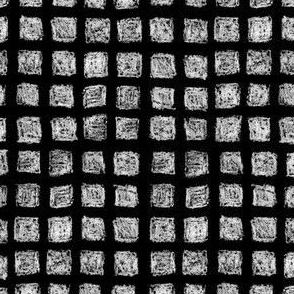 batik square grid - white on black