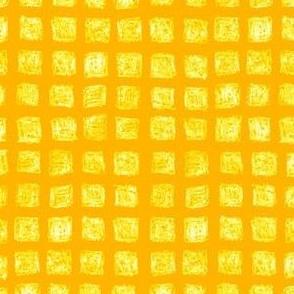 batik squares - white and yellow on saffron gold