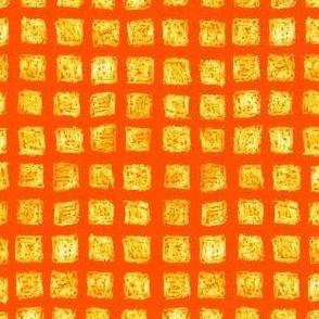 batik square grid - yellow on solar orange