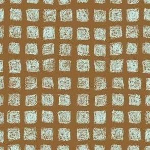 batik squares - antique blue on brown