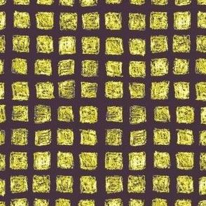 batik squares - gold and white on dark purple-brown