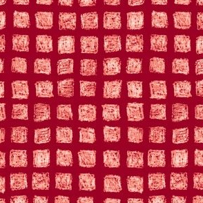 batik square grid  - white on cranberry red