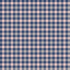 double gingham - navy, grey and pink