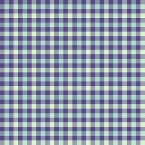 double gingham - purple, light blue and mint
