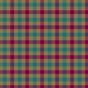 double moroccan gingham - teal, tan,  red-violet