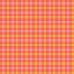 double gingham - pink, orange and vermilion