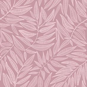 Pink botanical // Flowing lined leaves // Modern girls nursery