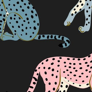 Pastel Cheetahs on Black - Large by Heather Anderson