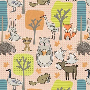 Forest friends | small scale | light orange dots background