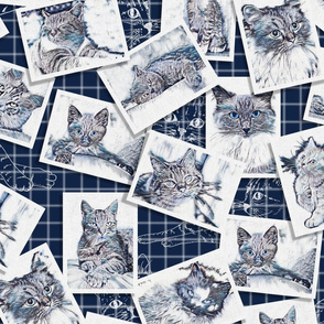 Vintage Cats Pattern 45 x 45 Final