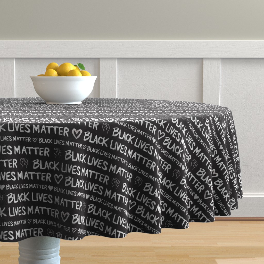 Malay Round Tablecloth featuring Black Lives Matter by winnie&peach