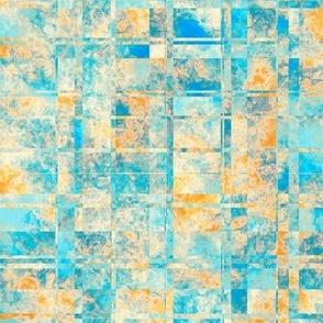 MPYX11 - Mod Fractured Marble Plaid  in Aqua and Orange Pastels