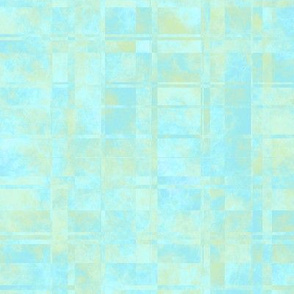 MPYX19 - Mod Fractured Marble Plaid in Pastel Tones of Blue and Yellow