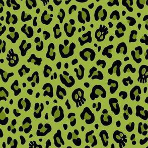★ SKULLS x LEOPARD ★ Psychobilly Green - Large Scale / Collection : Leopard Spots variations – Punk Rock Animal Prints 3