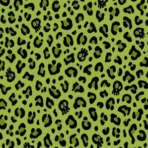 ★ SKULLS x LEOPARD ★ Psychobilly Green - Small Scale / Collection : Leopard Spots variations – Punk Rock Animal Prints 3