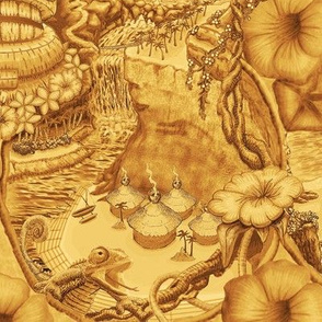 ★ TIKI ISLAND TOILE ★ Yellow, Large Scale / Collection: Hawaiian Toile – Vintage Summer Prints