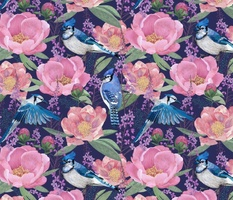 Blue Jay Bird and Peony