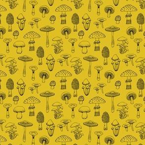 Midnight Mushrooms - Mustard - Small scale