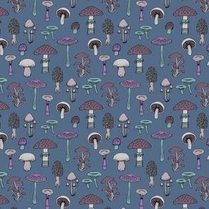Midnight Mushrooms - Grey - small scale
