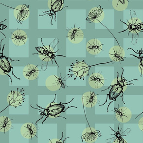 Beetles, Bees and grass yellow dots