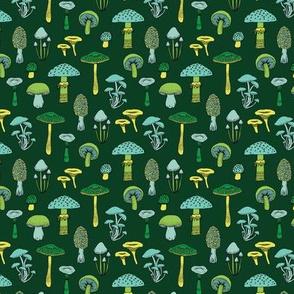 Midnight Mushrooms - green - small scale