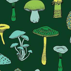 Midnight Mushrooms - green - Large