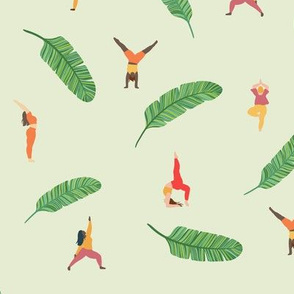 Nature Yoga Poses with Banana Leaves, fitness, all the love