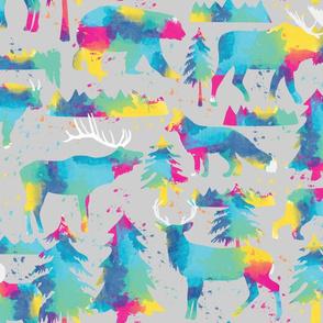 Splashy watercolor wildlife