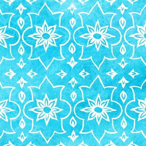 Amara - Indian Block Print on Turquoise Tie Dye