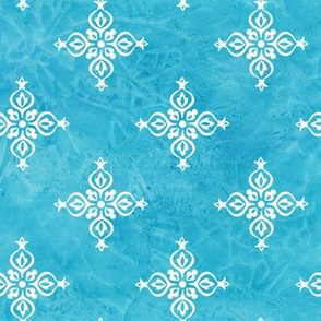 Lalita - Indian Block Print Design on Turquoise Tie Dye Background