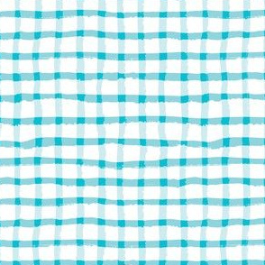 Wonky Plaid - Turquoise on White